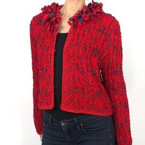 Estelle Gracer Vintage 90s Red Plaid Ruffle Jacket